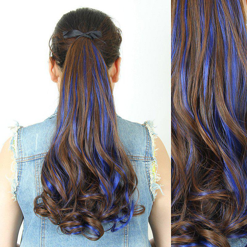 Fluffy Stylish Long Wavy Charming Light Brown Highlight Heat Resistant Synthetic Women's Ponytail - BLUE
