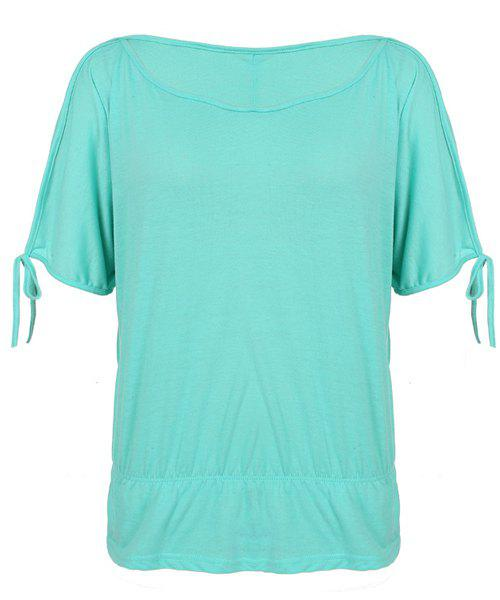 Stylish women 39 s scoop neck hollow out short sleeve solid for Mint color t shirt