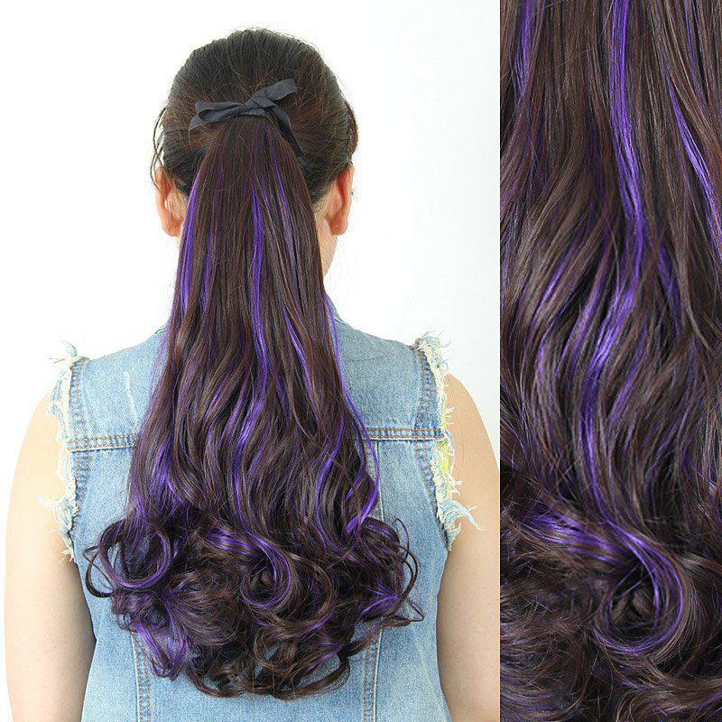 Fluffy Stylish Long Wavy Charming Deep Brown Highlight Heat Resistant Synthetic Women's Ponytail - PURPLE