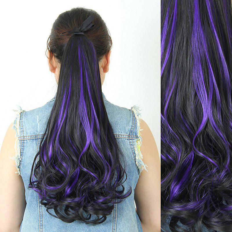 Fluffy Stylish Long Wavy Charming Brown Highlight Heat Resistant Synthetic Women's Ponytail - PURPLE