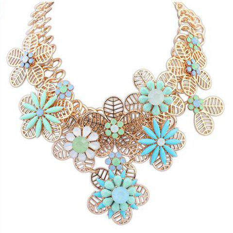 Fresh Style Hollow Out Floral Shape Necklace For Women - BLUE