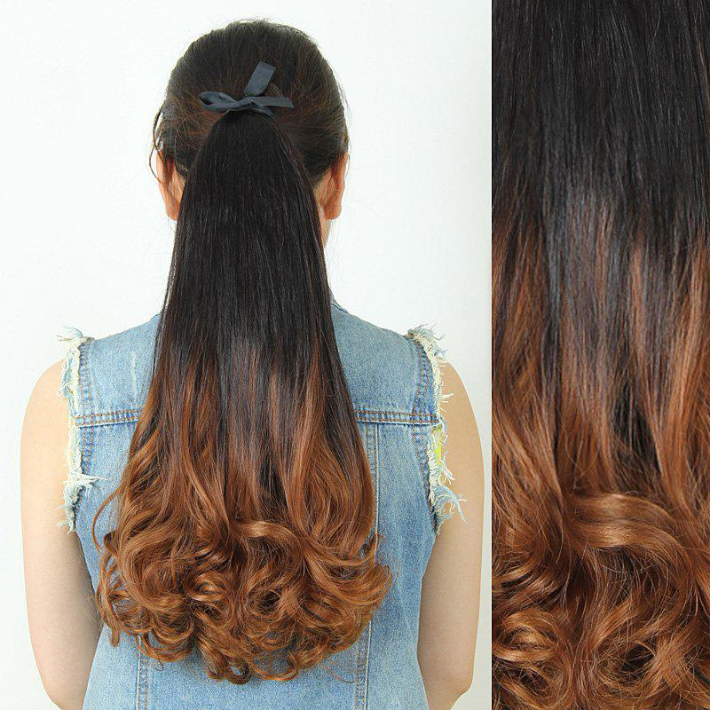 Fluffy Stylish Long Wavy Charming Black Ombre Heat Resistant Synthetic Women's Ponytail - LIGHT BROWN