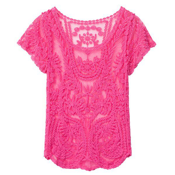 Stylish Scoop Collar Short Sleeve Solid Color See-Through Women's Smock - ROSE ONE SIZE(FIT SIZE XS TO M)