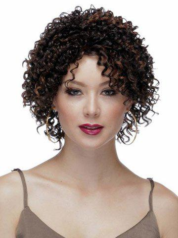 Highlights Synthetic Hair None Bang  Attractive Stylish Capless Womens Short Curly Afro Wig