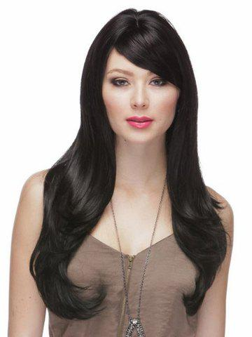 Multi-Layered Elegant Hairstyle Side Bang Long Wavy Women's Black Best Synthetic Wig - COLORMIX