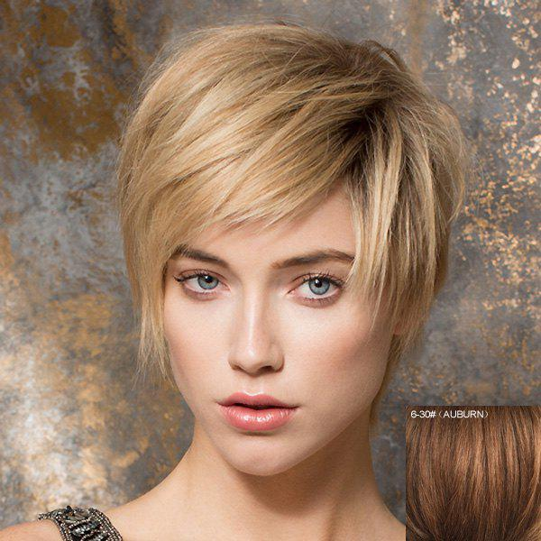 Stylish Human Hair Stunning Spiffy Side Bang Short Straight Capless Wig For Women