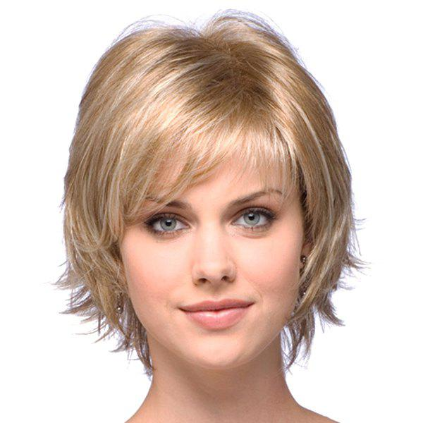 Stylish Human Hair Elegant Charming Side Bang Fluffy Short Wavy Capless Wig For Women - /