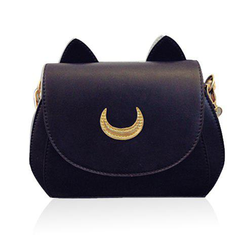 Sweet Moon Print and Ear Pattern Design Crossbody Bag For Women - BLACK