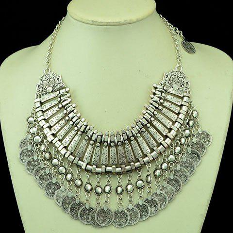 Statement Multilayered Coin Shape Fringed Necklace - SILVER GRAY