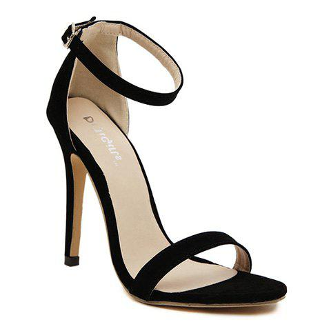 Laconic Suede and Stiletto Design Sandals For Women - BLACK 37