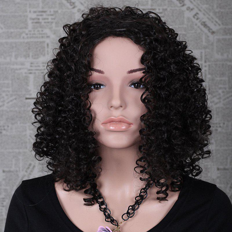 Top Quality Natural Black Synthetic Hair Outstanding Medium Length Women's Kinky Curly Afro Wig