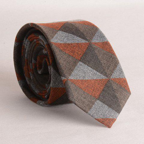 Stylish Triangle and Argyle Pattern Multicolor Men's Tie - ORANGE