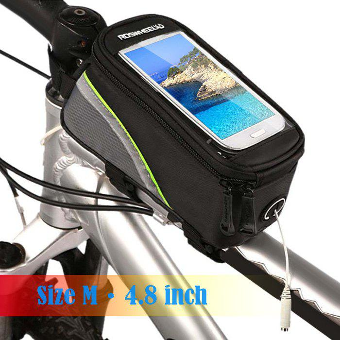 Roswheel 12496 Bicycle Mountain Bike Frame Tube Mobile Phone Case with Touchscreen + Reflective Stripe - GREEN M