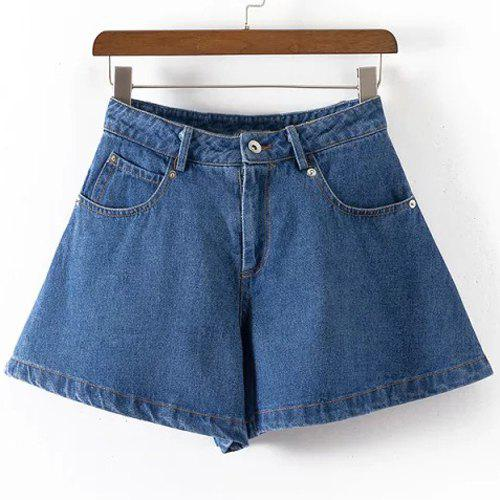 Brief Pure Color Button Fly Denim Shorts For Women