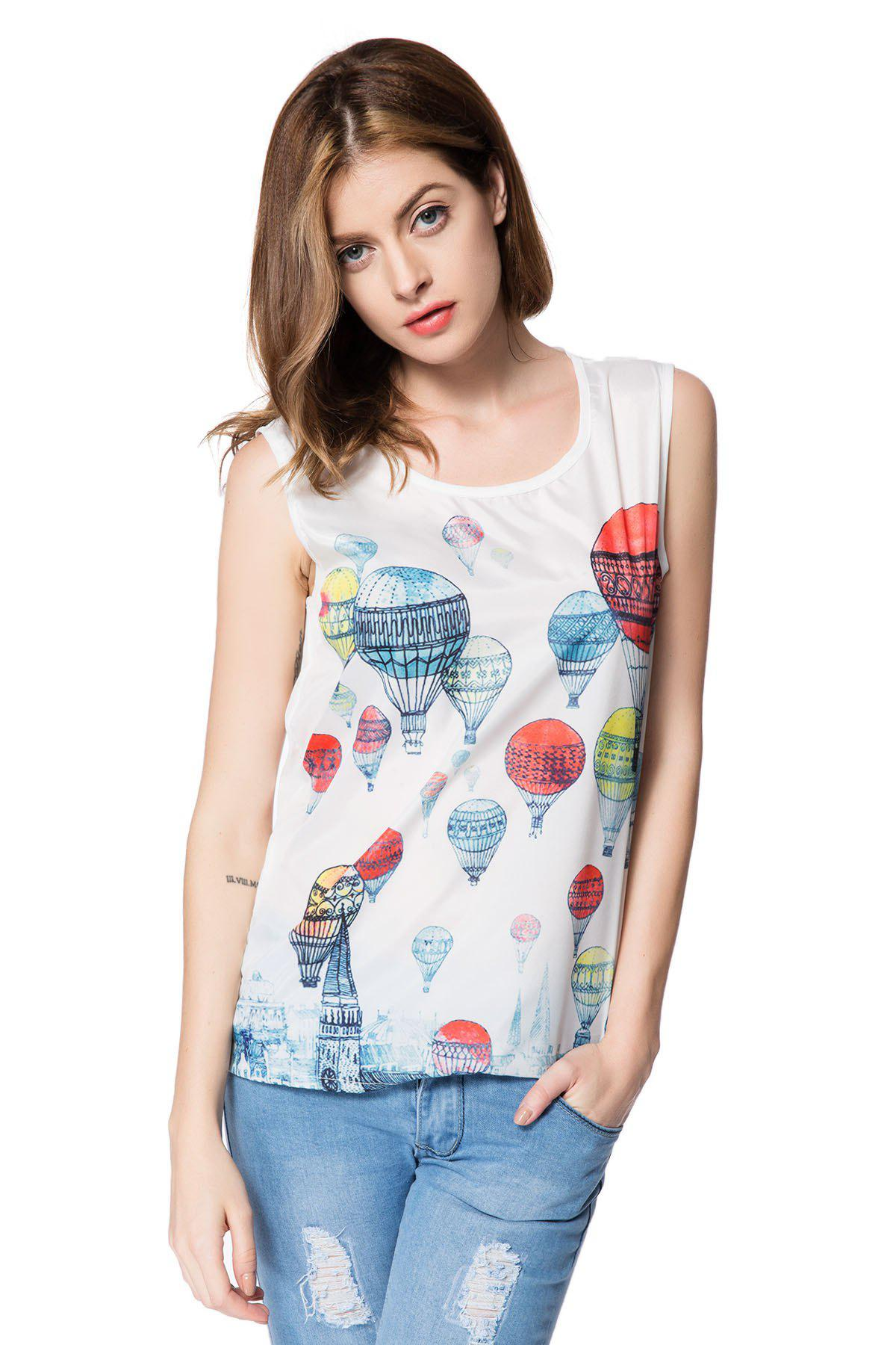 Fashionable Scoop Collar Fire Balloon Print Chiffon Tank Top For Women - COLORMIX L