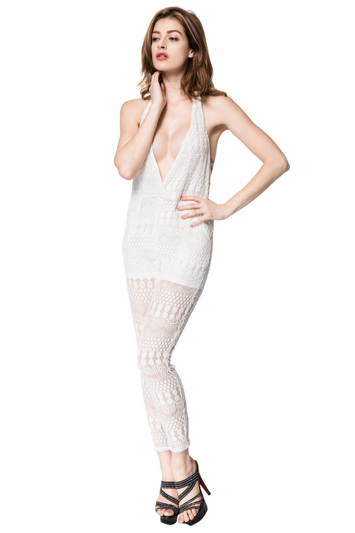 Sexy Halter Sleeveless Backless Solid Color Women's Jumpsuit - WHITE L
