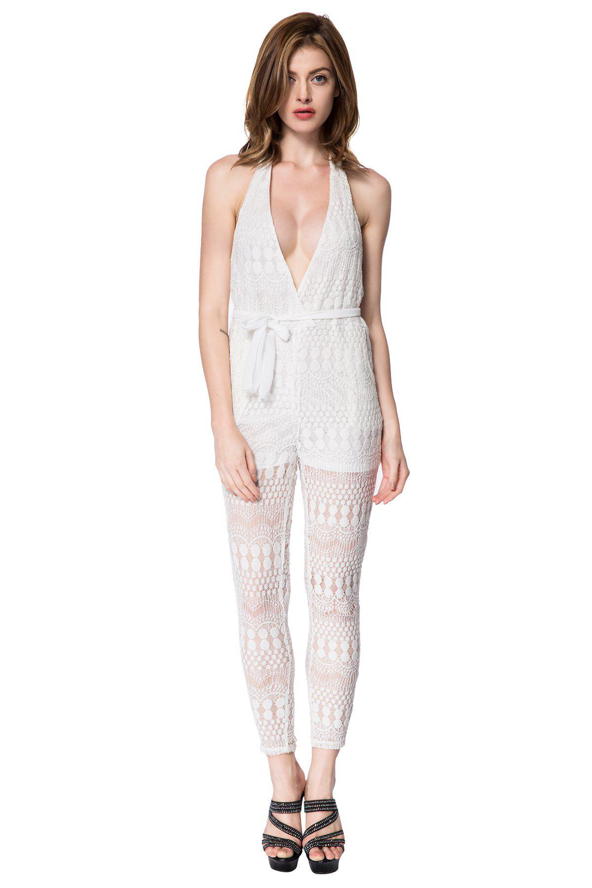 Sexy Halter Sleeveless Backless Solid Color Women's Jumpsuit - WHITE S