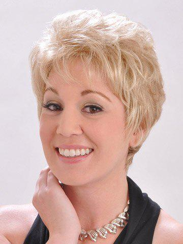 Skilful Light Blonde Short Trendy Spiffy Side Bang Curly Women's Capless Wig - COLORMIX