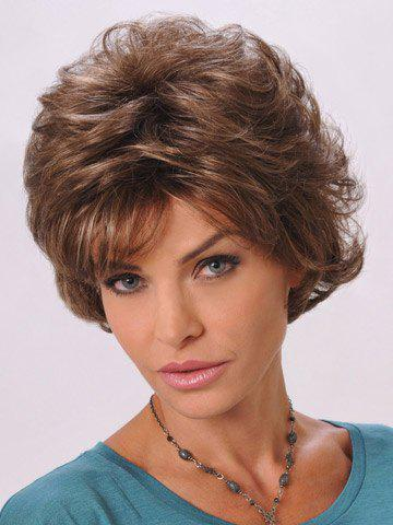 Trendy Deep Brown Skilful Short Side Bang Wave Synthetic Women's Capless Wig - COLORMIX