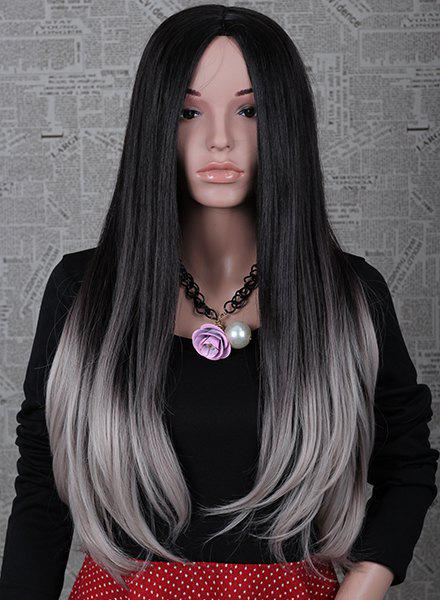 2 Color Ombre Fashion Long Natural Straight Centre Parting Charming Women's Capless Wig - R2 3