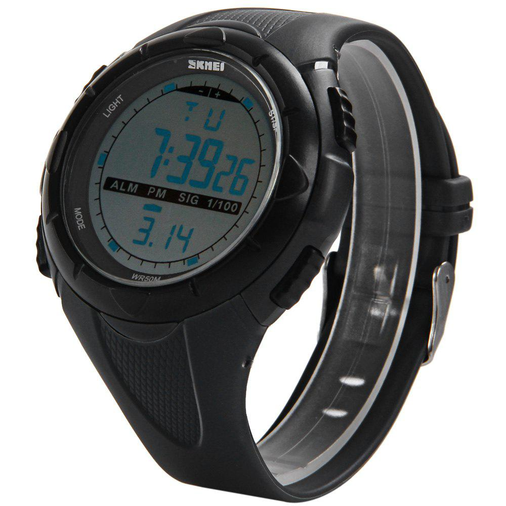 Skmei 1025 Sports Military LED Watch Week Alarm Date Stopwatch 5ATM Water Resistant - BLACK