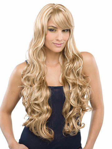 Top Quality Side Bang Fluffy Charming Long Wavy Mixed Color Synthetic Women's Vogue Wig