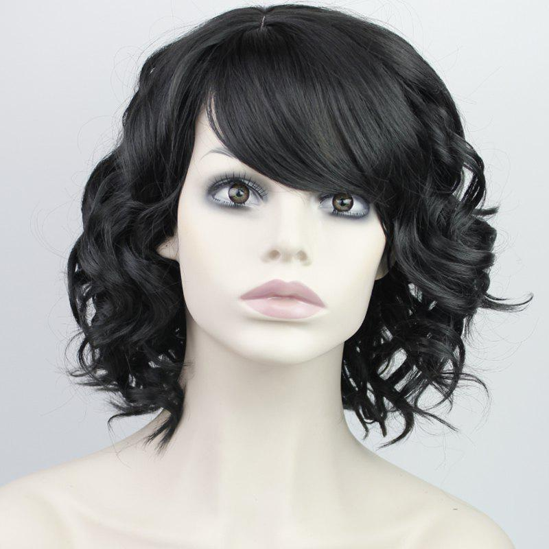 Fashion Synthetic Medium Curly Side Bang Ladylike Charming Fluffy Women's Capless Wig