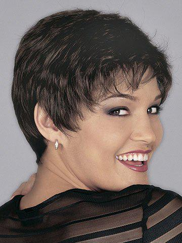 Super Short Side Bang Heat-Resistant Short Curly Spiffy Sexy Style Women's Synthetic Hair Wig - COLORMIX
