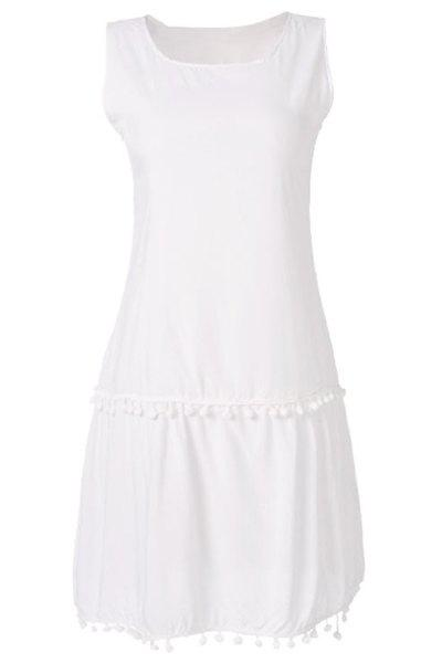 Simple Scoop Collar Sleeveless Fringe Design Solid Color Women's Dress - WHITE S