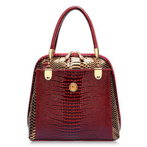 Stylish Style Snake Print and PU Leather Design Tote Bag For Women