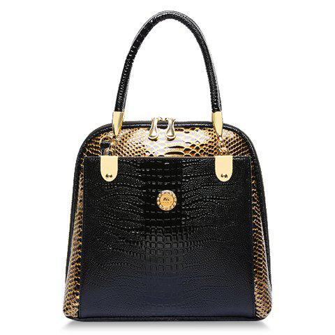 Stylish Style Snake Print and PU Leather Design Tote Bag For Women - BLACK
