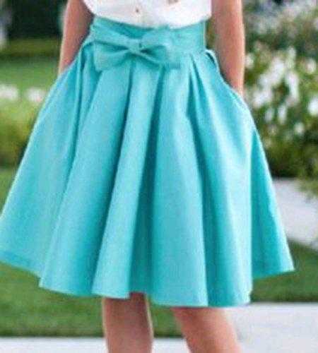 Preppy Style High-Waisted Pocket Design Solid Color Women's Skirt - BLUE M