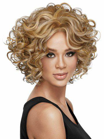 Outstanding Charming Short Curly Heat-Resistant Assorted Color Capless Women's Bouffant Wig - COLORMIX