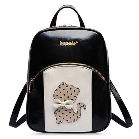 Cute Cartoon and Bow Design Color Matching Satchel For Women - BLACK