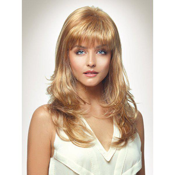 Charming Blonde Mixed Trendy Synthetic Layered Long Wavy Full Bang Fluffy Women's Capless Wig
