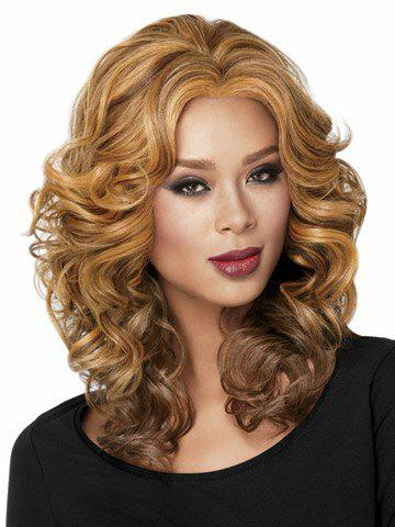 Charming Blonde to Brown Ombre Trendy Synthetic Long Wavy Centre Parting Fluffy Women's Capless Wig charming synthetic colorful ombre long centre parting capless fluffy wavy cosplay wig for women