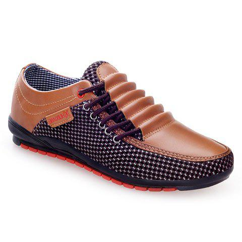 Fashion Splicing and Round Toe Design Casual Shoes For Men - DEEP BROWN 43