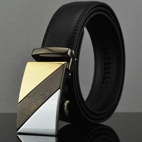 Stylish Stripy Alloy Buckle Faux Leather Belt For Men - BLACK