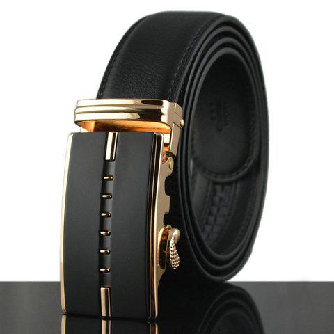 Stylish Hollow Out Stripy Alloy Buckle Faux Leather Men's Belt