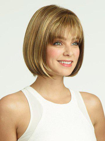 Skilful Brown Mixed Gold Charming Short Full Bang Silky Straight Women's Wig - COLORMIX