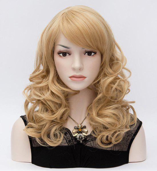 Pretty Charming Side Bang Fluffy Long Curly Heat-Resistant Capless Party Women's Highlights Wig
