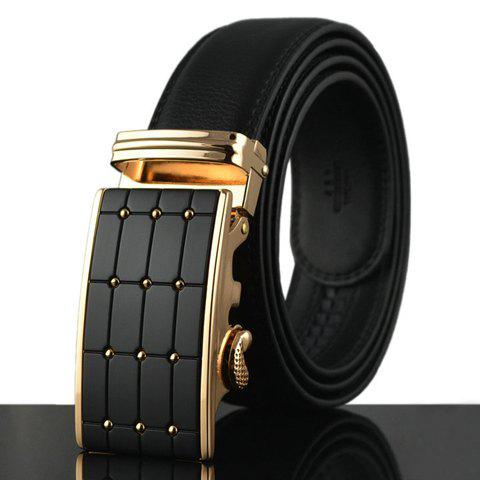 Stylish Polka Dot Shape Alloy Embellished Faux Leather Men's Belt - BLACK