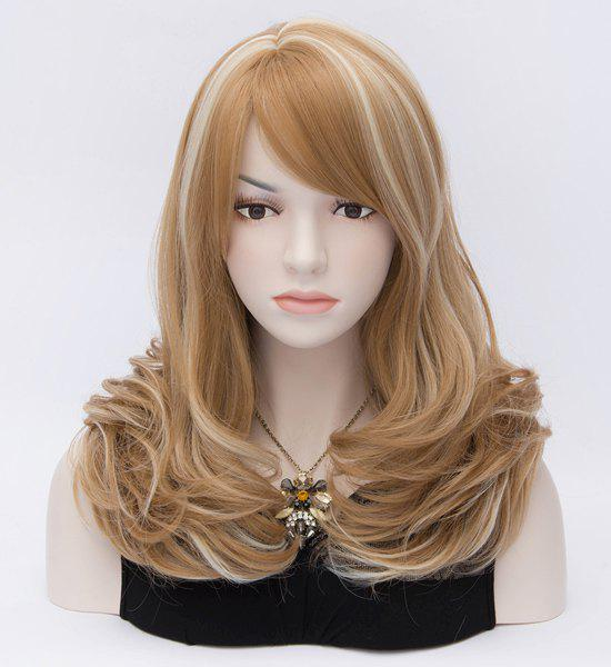 Refreshing Dainty Side Bang Fluffy Synthetic Party Hair Capless Women's Ombre Long Curly Wig - COLORMIX