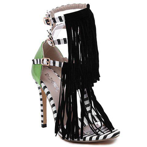 Fashion Fringe and Color Block Design Sandals For Women - BLACK 39