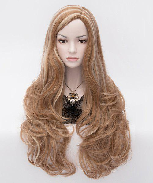 Mature Charming Side Bang Layered Highlights Long Wavy Capless Synthetic Hair Women's Party Wig - COLORMIX