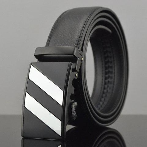 Stylish Striped Alloy Embellished Faux Leather Men's Belt - BLACK