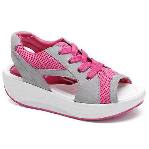 Stylish Color Block and Peep Toe Design Sandals For Women - PINK 38