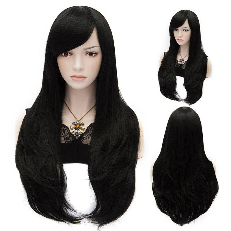 Long Natural Wavy Multi-Layered Side Bang Heat-Resistant Fashion Elegant Women's Black Party Wig - BLACK
