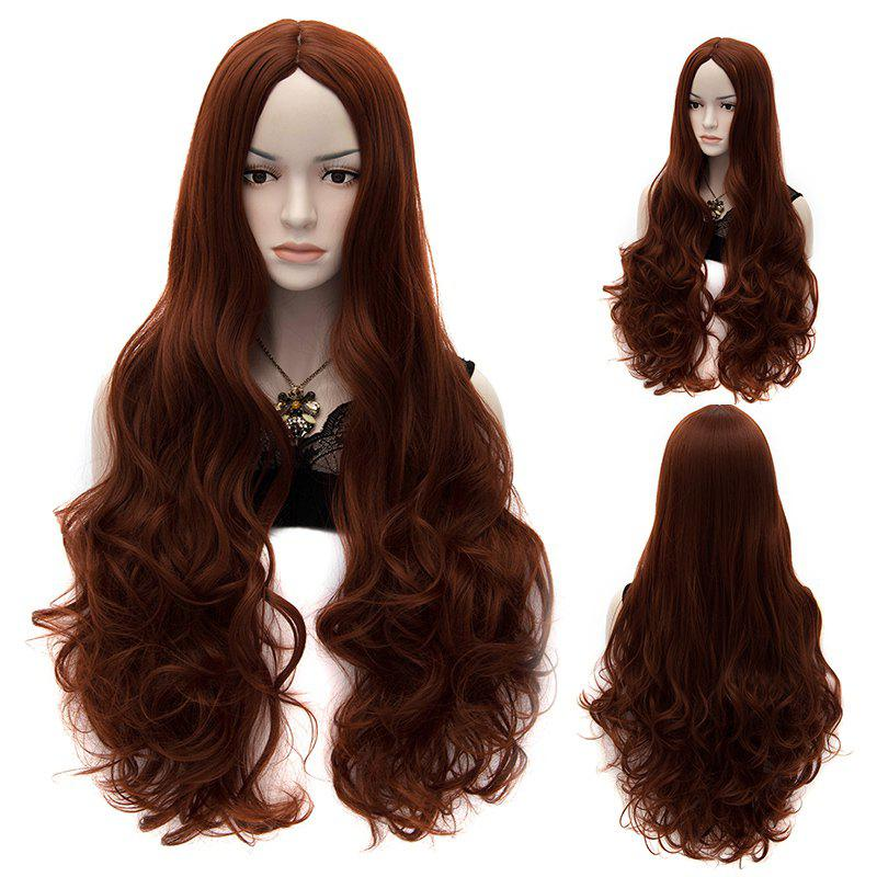 Charming Sexy Party Hair Style Centre Parting Fluffy Chestnut Synthetic Women's Long Curly Wig