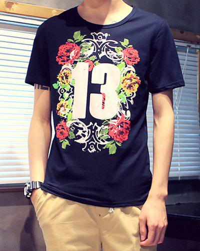 Refreshing Slimming Round Neck Flower and Number Print Short Sleeves Men's T-Shirt - SAPPHIRE BLUE M